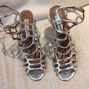 Steve Madden silver cage heels